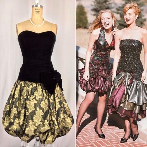 80 s Velvet   Taffeta Bubble Hem Prom Party Dress.  M 5b4905eac2e9febbca121271 52b2d037c